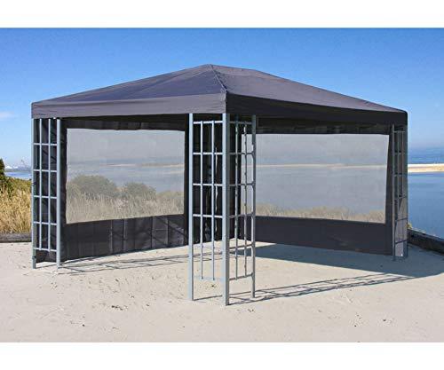 GRASEKAMP Qualität seit 1972 2 Seitenteile mit PVC Fenster zu Aluoptik Pavillon 3x4m Anthrazit...
