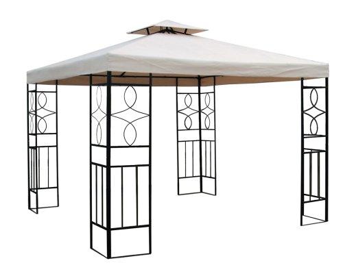 WASSERDICHTER Pavillon BEIGE Festzelt ROMANTIKA Metall inkl. Dach wasserfest Partyzelt