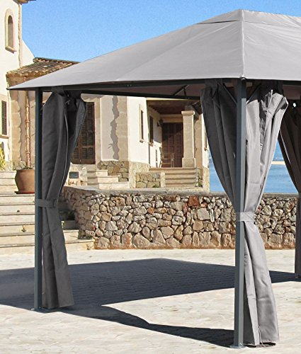 Grasekamp 4 Seitenteile zu Pavillon Nizza 3x4m Grau Sichtschutz Seitenschals
