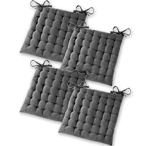 Gräfenstayn 4er-Set Sitzkissen Stuhlkissen 40x40x5cm für Indoor und Outdoor aus 100% Baumwolle...