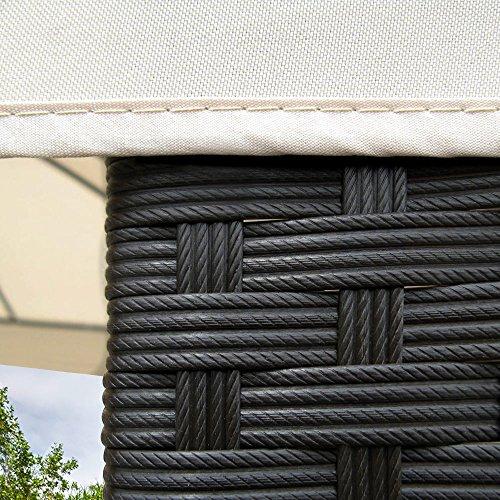 Deuba Poly Rattan Pavillon 3x3m Polyrattan Gartenpavillon Pavillion Sonnenschutz
