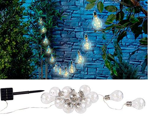 Lunartec Lichterkette aussen: Solar-LED-Lichterkette im Glühbirnen-Look, 12 Birnen, warmweiß, 8,5...