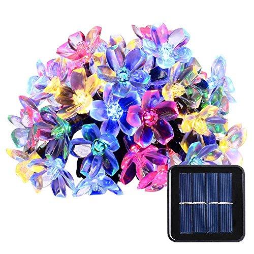 lederTEK, Solar Lichterkette 6,4m 50 LED Pfirsichblüte Außenlichterkette Wasserdicht mit...