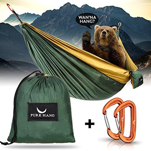 PURE HANG Premium Camping Hängematte Outdoor XXL 300kg Traglast 285cm x 185cm für 2-4 Personen...
