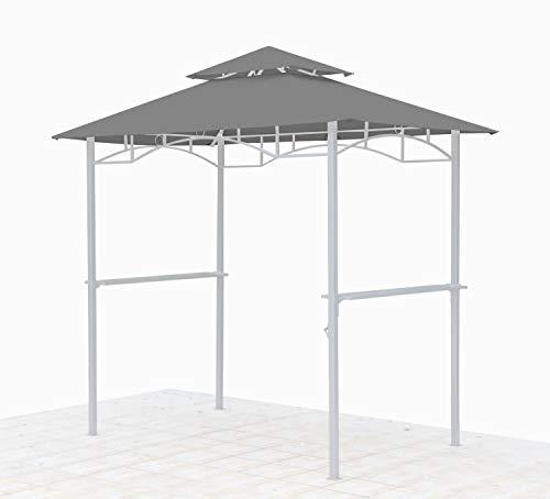 GRASEKAMP Qualität seit 1972 Ersatzdach für BBQ Grill Pavillon 1,5x2,4m Grau Unterstand Doppeldach...