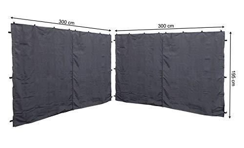 QUICK STAR 2 Seitenteile mit RV 300x195cm für Rank Pavillon 3x3m Seitenwand Anthrazit RAL 7012