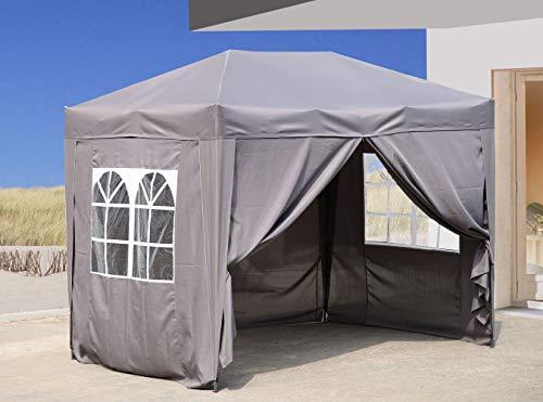 QUICK STAR Pop-Up-Pavillon 2 x 3 m Smoky Grau mit 4 Easy-Klett Seitenwänden 2 mit...