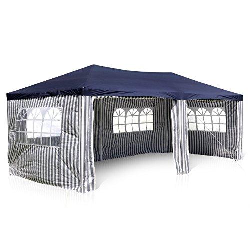 Nexos GM36077 PE-Pavillon Partyzelt mit 4 Seitenteilen und 2 Eingängen für Garten Terrasse Feier...